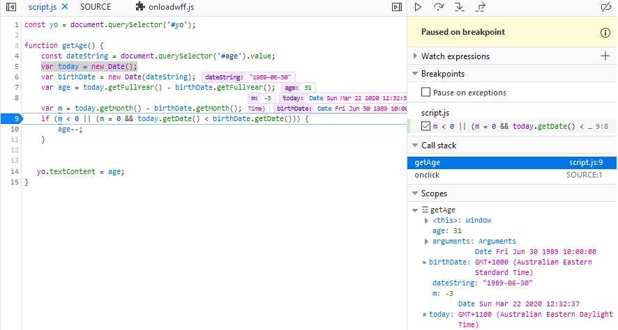 Scopes section in Chrome's debug pane
